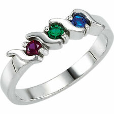 Sterling SILVER Mother's Birthstone Ring 2-5 Stones, Moms family Jewelry Ring
