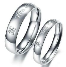 Fashion His and Her YOU ARE PERFECT Heart Zircon Titanium Stainless Steel Ring