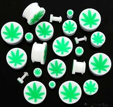 PAIR Pot Leaf Marijuana Green White Single Flare Acrylic Ear Plugs Gauges