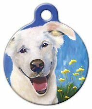 HAPPY WHITE DOGGIE - Custom Personalized Pet ID Tag for Dog and Cat Collars