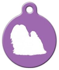 MALTESE SILHOUETTE - Custom Personalized Pet ID Tag for Dog and Cat Collars