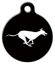RUNNING GREYHOUND - Custom Personalized Pet ID Tag for Dog and Cat Collars
