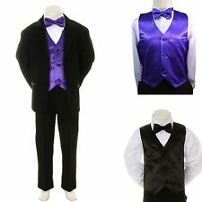 New Baby Boy Formal Wedding Party Black Suit Tuxedo + Purple Vest Bow Tie S-4T