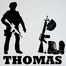 Personalised Army Soldier Wall Sticker boys bedroom vinyl graphic kids decal
