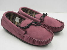 BELLA LADIES MOCCASIN SUEDE UPPER SLIPPER COLOUR PLUM