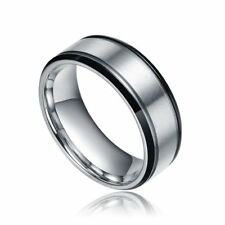 8mm Titanium Ring Wedding Band  Rings Silver Black Color Two Tone Simply Unisex