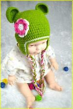 Baby Girl Hat Toddler Green with Pink Flower Knit Crochet Hat Beanie Clothes Cap