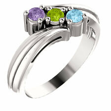 Mothers Birthstone Sterling Silver Ring 1-4 Birthstones, Mom's family Jewelry