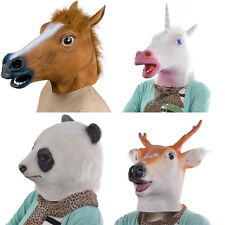 Horse Unicorn Panda Deer Head Mask Creepy Halloween Costume Theater Prop Adult