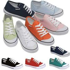 LADIES DUNLOP CANVAS SHOES NEW GIRLS RETRO LACE UP PUMPS PLIMSOLES TRAINERS SIZE