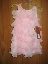 Biscotti Girl's Rococo Rose Tiered Print Chiffon Dress in Pink 2T, 3T, 4T