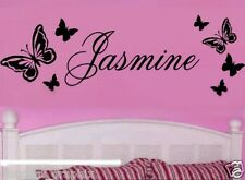PERSONALIZED NAME & BUTTERFLIES DECAL STICKER BUTTERFLY WALL ART PRINCESS LOVE