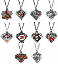 CHOOSE TEAM Necklace New Official MLB 24 inch Solid  Pewter Charm Men or Women