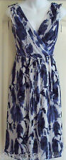 NEW~MONSOON~AVONDALE NAVY PLEAT DRESS 10 WHITE FLORAL, LINED, WEDDING
