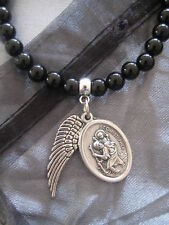 PICK YOUR BEAD St Saint Christopher Patron & Angel Wing Charm on Beaded Bracelet