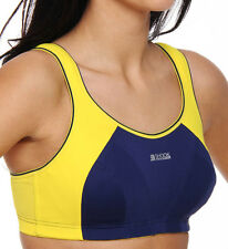 SHOCK ABSORBER SPORTS BRA - B4490 - BLUE/YELLOW - NEW - LEVEL 4 - 32A - 34HH