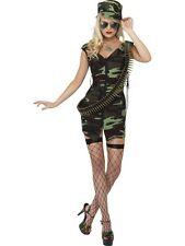 LADIES FEVER COMBAT ARMY GIRL FANCY DRESS COSTUME GREEN CAMO MILITARY OUTFIT CAP