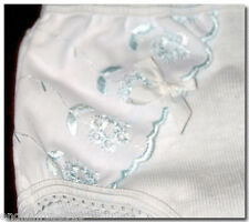 LOVELY VINTAGE GIRLS PANTIES KNICKERS SIDE BROIDERY ANGLAISE LACE & BOW 9/11 yrs