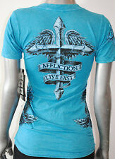 NWT AFFLICTION LIVE FAST womens WISP ss baby Vneck embellished Tee AW3144 *SMALL
