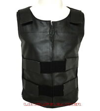 Men's Bullet Proof Style Zipper Velcro Leather Motorcycle Vest Small To 6XL