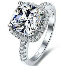 Princess Cut Diamond 3 Carat Classic Halo Style 3 colors Cushion Shape SONA ring