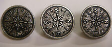 SDL Steampunk rustic compass metal buttons pack of 3 buttons
