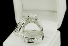 AAA CZ His & Hers 3pcs Engagement Wedding Ring Set Sterling Silver Size 5-10.5