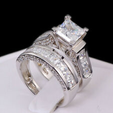AAA Princess Cut Engagement Wedding Bridal Ring Set Sterling Silver size 5-10.5