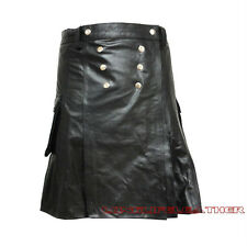 Men's Pleated Soft Cowhide Leather Kilt With Snaps Brand New Sizes 28 to 44