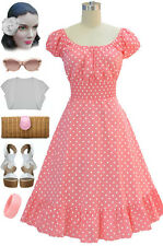 50s Style Lt PINK &White POLKA Dot PLUS SIZE Peasant Top On/Off t/Shoulder Dress