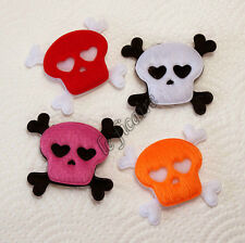 U PICK ~ Big Furry Felt Skull Crossbones Halloween Pirate Appliques x20pcs #2445