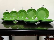 4-Pcs Melamine Dinnerware Salad Plate Dish Abstract Green Set (FDA Compliance)