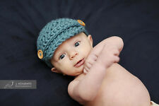Dusty Blue BABY BOY Newsboy Hat Newborn Photography Prop Crocheted Cute Cap