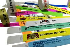 PLAIN & CUSTOM PRINTED Tyvek Wristbands, paper like, security, events, festival
