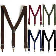"Mens Elastic Suspenders Adjustable Braces Clip-On 1.4"" Width 5 Colors"