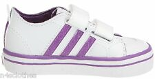 Infants Adidas Vulcster Trainers Kids Toddlers White Purple Size 5k  5.5k 6k 7k