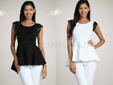Peplum Solid Color Hi low Top with Black Leather Faux Cap Sleeves Blouse J40