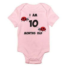 I AM 10 MONTHS OLD - Age / Ten / Birth / Ladybird / Bug Themed Baby Grow / Suit