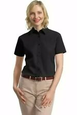 Port Authority Ladies Short Sleeve Value Cotton Twill Button Down Shirt New