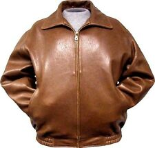 mens leather bomber jacket whisky cognac ranch lambskin zip out liner front zip