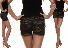 Sexy Women Camouflage Hot Pants Four Pocket Ladies Denim Shorts Size 8 10 S M 36