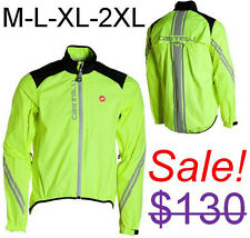 Castelli Men's Goccia Road Bike Cycling Fluorescent Reflective Night Rain Jacket