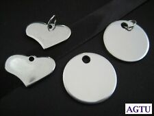 Stainless Steel Blank for Engraving Love Heart Round Charm (Pick your Charm)