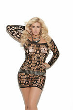 Off the Shoulder Ripped Net Mini Dress One Size or OS Plus Lingerie   #EM8674
