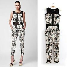 Fashion Women Vintage Geometric Print Slim Overalls Jumpsuits Rompers