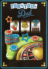 contemporary DAD happy birthday card roulette poker fruit machine + casino games