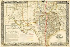 1876 Great Texas Chisholm Goodnight Western Cattle Trails Map  - In 3 Sizes