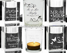 PERSONALISED ENGRAVED Tea Light Votive CANDLE Holder Gifts Present For Memorial