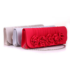 Red Beige Silver Women's Rose Flower Evening Party Prom Clutch Handbag Bag Purse