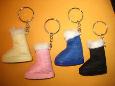 Winter Boot Keychains, Leather Pink Blue Black Yellow